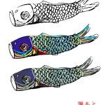 和風五月イラスト・鯉のぼり