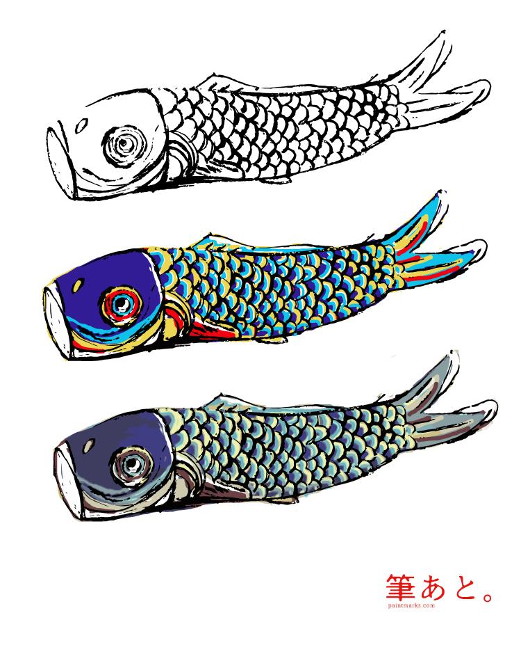 和風イラストフリー素材・鯉のぼり
