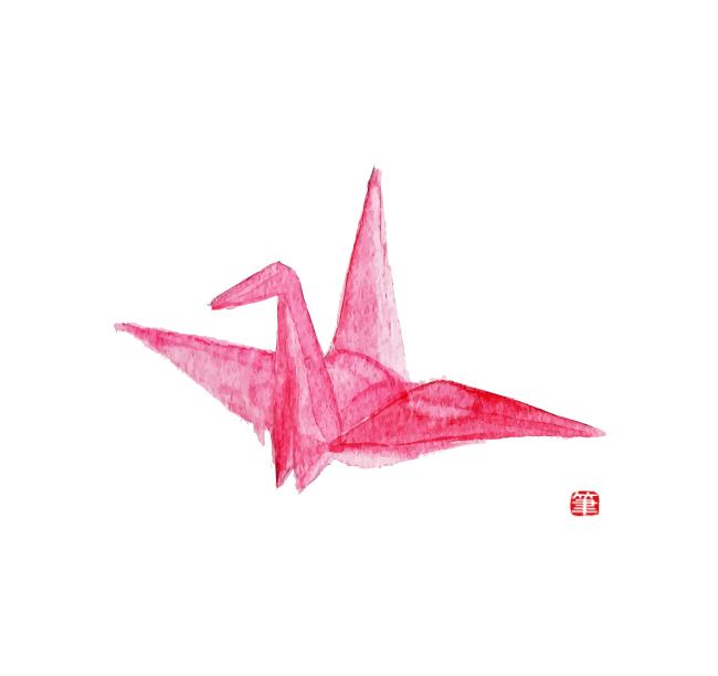 和風イラストフリー素材・折り鶴