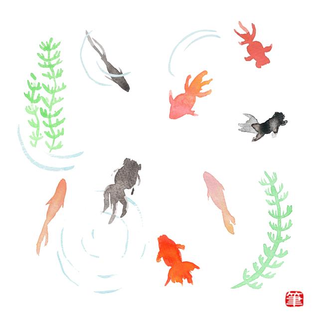 水彩和風イラスト金魚 筆あと