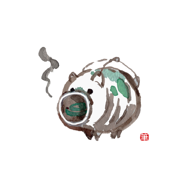 和風イラスト・豚の蚊取り線香