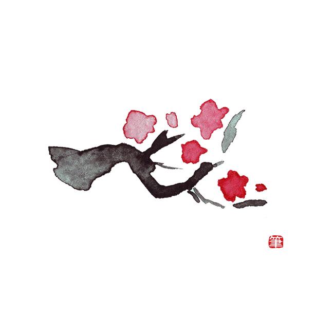 シンプルな梅の枝イラスト 筆あと